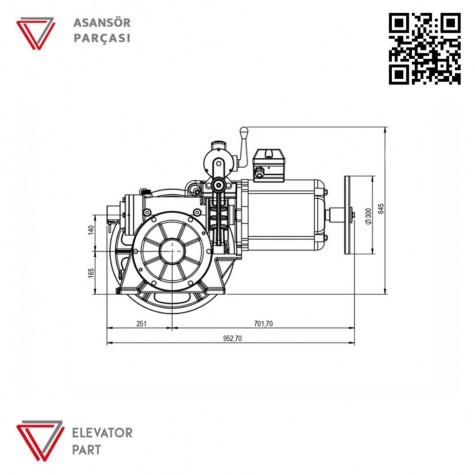 Akis Volpi VF2X Serisi Asansör Motoru 630 Kg