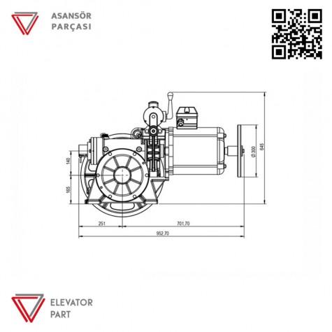 Akis ZF102 Asansör Motoru 1000 Kg