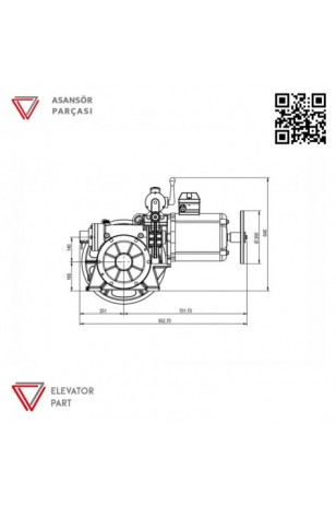 Akis ZF102 Asansör Motoru 500 Kg