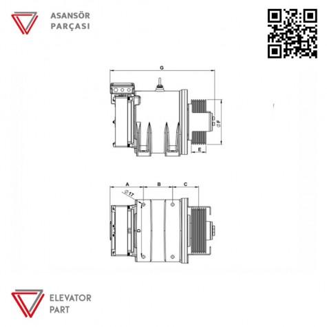 Akis Ak2 Asansör Motoru 210 Kasnak 800 Kg