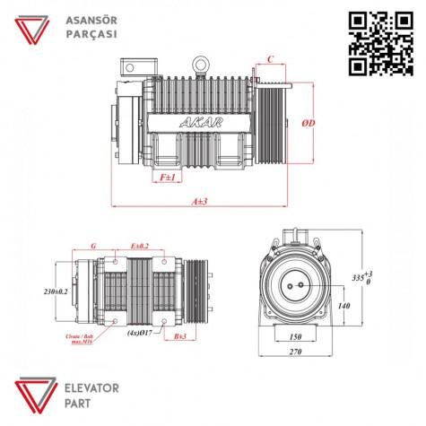 Akar Dişlisiz MRL-1275 KG-Asansör Motoru