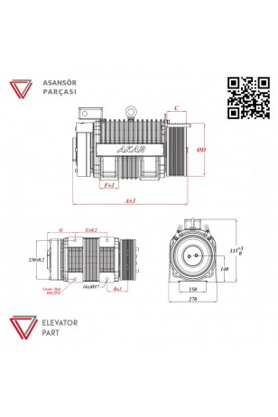 Akar Dişlisiz MRL-1200 KG-Asansör Motoru