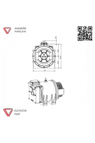 Akis Volpi MRL2-800 KG-Asansör Motoru